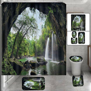 Bathroom Waterfall Nature Scenery Shower Curtain Toilet Cover Mat Non Slip Rug
