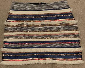 Anthropologie Moulinette Soeurs Erine Fringe Beaded Skirt Size 6 Small
