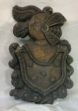 """Vintage 23"""" Hand Painted Foam KNIGHT Wall Hanging Plaque"""