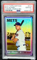 2019 Topps Heritage Chrome PURPLE REFRACTOR Mets PETE ALONSO RC Card PSA 10 GEM