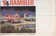 AMC Rambler American Classic Ambassador 1964 Original USA Foldout Brochure