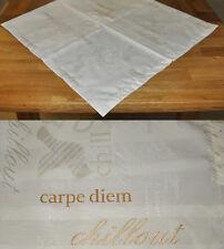 #10165 Tischdecke Mitteldecke 90 x 90 Carpe Diem Landhaus Natur Stickerei