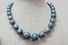 """Huge natural south sea genuine 18""""14x19mm black blue nuclear pearl necklace 14k"""