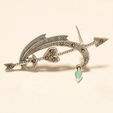 Real Marcasite Archery Love Pin Brooch 925Sterling Silver Bridal Wedding Jewelry