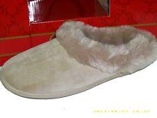Charter Club Women's Micro-Velour Faux Fur Slippers - Biege - Sz Smalll (5-6)