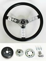 "65-69 Ford Mustang Steering Wheel Black and Chrome 14 1/2"" Mustang Center Cap"