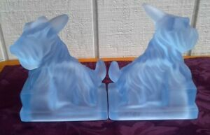 """MOSSER GLASS *SCOTTIE DOG* FROSTED WHITE 6 1/2"""" BOOKENDS *NCC 99* ORIG BOX LN"""
