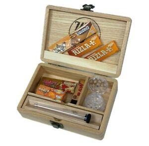 Wooden Rolling Box Set Smoking Storage Rolling Papers Filter Tips Grinder Liquor