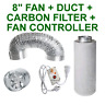 "8""/200MM INLINE FAN + CARBON FILTER + CONTROLLER + ALUMINIUM DUCTING GROW TENT"