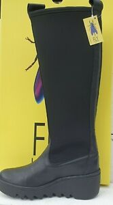 Ladies Fly London Blye 332 Verona Black Leather & Elastane Wedge Pull on Boots