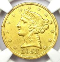 1853-C Liberty Gold Half Eagle $5 - NGC AU Details - Rare Charlotte Gold Coin!