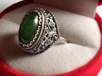 Big Vintage Soviet Russian Ring Sterling Silver 925 Jade Women Jewelry Size 7.5