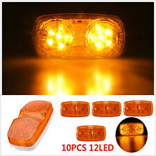 10x Amber Lens 12 LED Diodes Bulls Eye RV Trailer Side Marker Clearance Light
