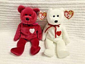 RARE, NEW: WHITE VALENTINO & RED VALENTINA PAIR OF TY BEANIE BABY PLUSH BEARS
