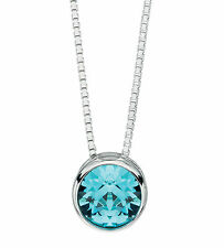 Silver Pendant Aquamarine Crystal Solitaire Pendant Sterling Silver Necklace