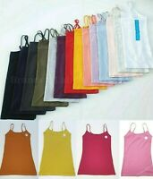PRIMARK LADIES WOMEN'S GIRLS STRETCH PLAIN CAMI VEST ADJUSTABLE STRAPS TOP