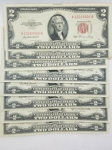 1953/1963 Two Dollar Bill $2 Note Fancy Red Seal Old Paper US Currency Bill