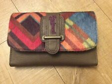 ** Desigual blue pink brown multi large zip wallet purse pockets