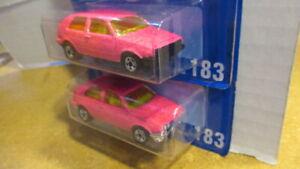 pair of Hot Wheels 1990`s blue card #183 VW GOLF mf pink both base variations