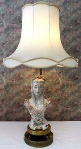 Cordey Figure FEMALE Lamp.Original Cordey Sticker.DoubleBrass Base.Pristine.1940