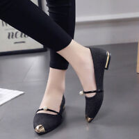 Women Flat Heels Pointed Toe Casual Shoes Slip On Loafers Ballet Beaded Comfy