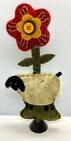 """Primitive/Country Felt Sheep /Flower Make Do Stand 9 """" FREE SHIPPING"""