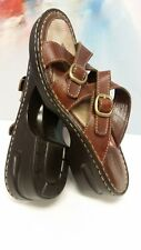EUC Cond.! Eastland Strappy Brown Leather Slip On Sandals Clogs Shoes Womens 9m