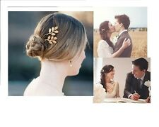 2X Gold Tone Bridal Bridesmaid Sweet Brief Style Leaf Wedding Party HairPin Clip