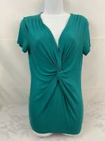 Nicole Miller Women's V-Neck Ruched Front Top Short Sleeve Size S Green Shirt G1