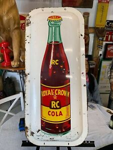 "Vintage Rare Convex Style RC Royal Crown Bottle Sign 35"" x 16"""