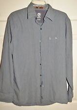 TIMBERLAND CASUAL BUTTON FRONT TEAL/BLACK STRIPED LONG SLEEVED SIZE M