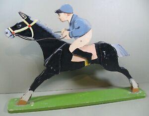 Circa 1930s Folk Art Race Horse and Jockey, Painted Wood
