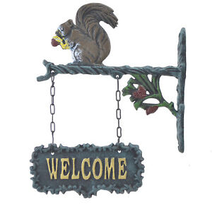 """Double Sided Hanging Welcome Sign Squirrel Eating A Nut Plaque Decor 9"""" Wide N"""