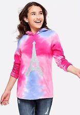Nwt Justice Girls Ombre Glitter Sweatshirt Hoodie Eiffel Tower Size 8