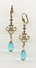AQUAMARINE cut-crystal TEARDROP FILIGREE Earrings 14K Gold gp Art Deco Vtg Czech