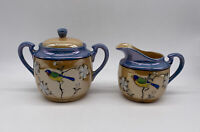 Vintage Iridescent Lusterware Sugar Bowl And Creamer Hand Painted Made In Japan