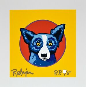"George Rodrigue Blue Dog ""Bullseye Yellow"" Print Signed Numbered Artwork"