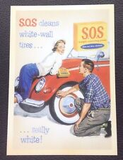 POSTCARD: S.O.S CLEANS WHITE-WALL TIRES. REALLY WHITE: UN POSTED