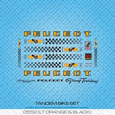Peugeot Tandem Bicycle Decals - Transfers - Stickers - Orange/Black - Set 552