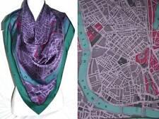 Burberry lujo XXL bufanda PAÑUELO scarf Carré платок seda Silk 75x75 PVP 279 € lila