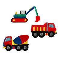 Aufbügler♥Applikation Patch 3 Baufahrzeuge Bagger,LKW,Betonmischer Aufnäher NEU