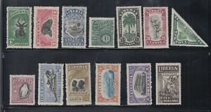 Liberia # 163-75 MINT Complete 1918 Set With WATERMARKS Fauna Antelope Bird Fish