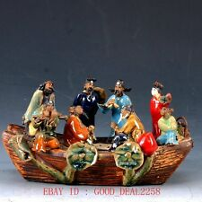 Chinese Porcelain Handwork Carved The Eight Immortals Statue  CX014