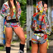 Colombian Brazilian Women 3pc Set Outfit Short Top Jacket Microfiber S M Gym