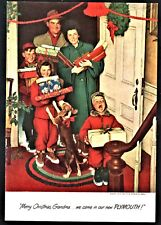 1950 PLYMOUTH Christmas AD Norman Rockwell Art Illustration Family & Beagle
