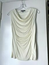 NWT CLASSIQUES ENTIER - Size XS - Ivory Sleeveless Top with Ruched Front