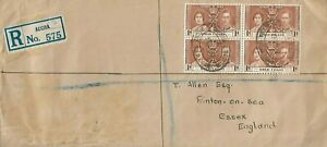 GOLD COAST KING GEORGE VI BLOCK OF 4 x 1d CORONATION ON COVER TO ENGLAND 1371