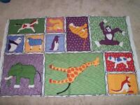 Zoo Animal Elephant Monkey Horse Bear Green Purple Black Fabric Quilt Panel Baby