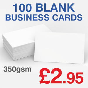 100 Blank Business Cards 350GSM Premium Cards 24 Hours Dispatch FAST & FREE