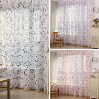 Floral Drape Panel Sheer Scarf  Valances Window Tulle Voile Door Window Curtain